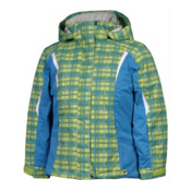 Karbon Loreali Girls Ski Jacket, Lime-Quartz Electric-Blue Arctic-White, medium