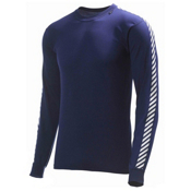 Helly Hansen Day Stripe Crew Mens Long Underwear Top, Navy, medium