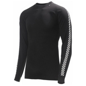 Helly Hansen Day Stripe Crew Mens Long Underwear Top, Black, medium