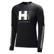 Helly Hansen One Long Sleeve Mens Long Underwear Top, Black, medium