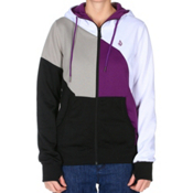 Volcom Nepeta Fleece Full Zip Womens Hoodie, Black, medium