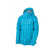686 Smarty Latice 3 In 1 Womens Insulated Snowboard Jacket, Turquoise Plaid, medium