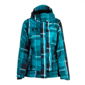 686 Reserved Radiant Womens Insulated Snowboard Jacket, Teal Yarn Dye Plaid, medium