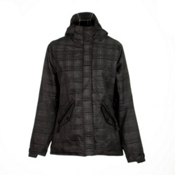 686 Reserved Luster Womens Insulated Snowboard Jacket, Black Heather Plaid, medium