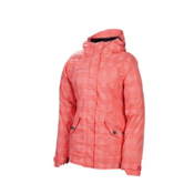 686 Reserved Luster Womens Insulated Snowboard Jacket, Coral Heather Plaid, medium