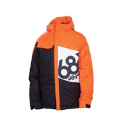686 Mannual Iconic Boys Snowboard Jacket, Orange Colorblock, medium