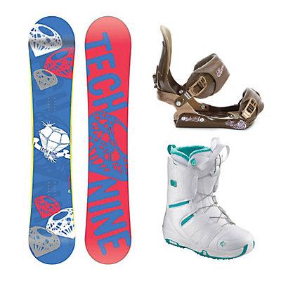 Tech Nine Diamond Blue SNLC II Pearl Womens Complete Snowboard Package, , large