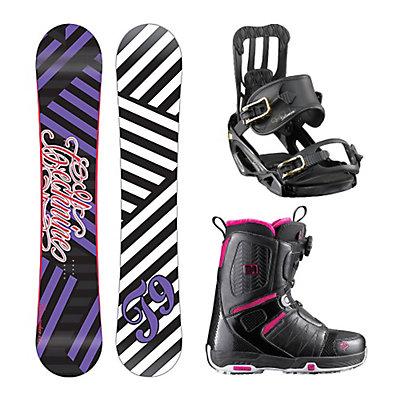 Tech Nine Glam Rocker Spell Pearl Boa Womens Complete Snowboard Package, , large