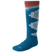 SmartWool Wintersport Floral Girls Ski Socks, Arctic Blue, medium