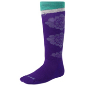 SmartWool Wintersport Floral Girls Ski Socks, Grape, medium