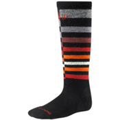 SmartWool Wintersport Stripe Kids Ski Socks, Black-Gray, medium
