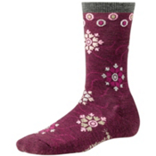 SmartWool Snow Swirl Womens Socks, Wine Heather, medium