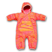 Obermeyer Snuggle Bunting Toddler Girls Ski Jacket, Pink Flamingo Pixel Print, medium