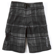 O'Neill Santa Cruz Plaid Boys Bathing Suit, Black, medium