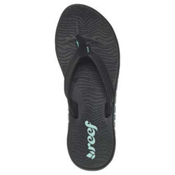 Reef Shore Drift Womens Flip Flops, Black-Aqua, medium