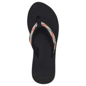Reef Braided Cushion Womens Flip Flops, Black-Multi, medium