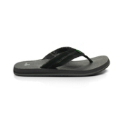 Sanuk Beer Cozy Split Mens Flip Flops, Black, medium