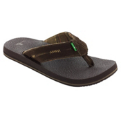 Sanuk Beer Cozy Split Mens Flip Flops, Chocolate, medium
