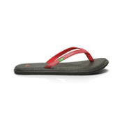 Sanuk Yoga Spree Womens Flip Flops, Red, medium