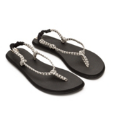 Sanuk Rasta Knotty Womens Flip Flops, Black-Cream, medium