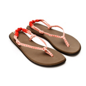 Sanuk Rasta Knotty Womens Flip Flops, Red-Cream, medium