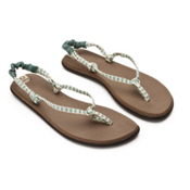 Sanuk Rasta Knotty Womens Flip Flops, Teal-Cream, medium