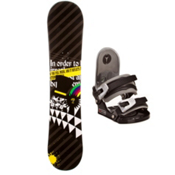 SLQ Black Rainbow Kids Snowboard and Binding Package, , medium