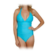 Athena Heavenly Halter One Piece Swimsuit, Aqua, medium