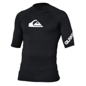 Quiksilver All Time Short Sleeve Mens Rash Guard, Black-White, medium