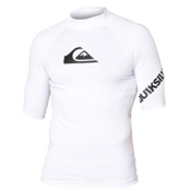 Quiksilver All Time Short Sleeve Mens Rash Guard, White, medium