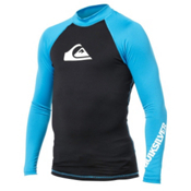 Quiksilver All Time Long Sleeve Mens Rash Guard, Cyan, medium