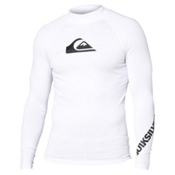 Quiksilver All Time Long Sleeve Mens Rash Guard, White, medium