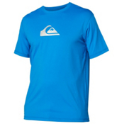 Quiksilver Solid Streak Short Sleeve Mens Rash Guard, Blue, medium