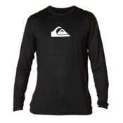 Quiksilver Solid Streak Long Sleeve Mens Rash Guard, Black-White, medium