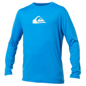Quiksilver Solid Streak Long Sleeve Mens Rash Guard, Blue, medium