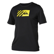 Quiksilver Back Track Short Sleeve Mens Rash Guard, Black-Yellow, medium