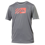 Quiksilver Back Track Short Sleeve Mens Rash Guard, Grey, medium