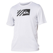 Quiksilver Back Track Short Sleeve Mens Rash Guard, White, medium