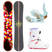 Joyride Checkers Black Womens Complete Snowboard Package 2013, , medium