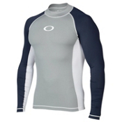 Oakley Pressure Long Sleeve Mens Rash Guard, Stone Gray, medium