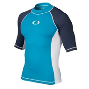 Oakley Pressure Short Sleeve Mens Rash Guard, Pacific Blue, medium