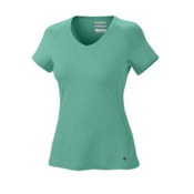Columbia Total Zero S/S V-Neck Womens T-Shirt, Glaze Green, medium