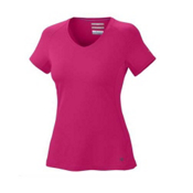Columbia Total Zero S/S V-Neck Womens T-Shirt, Bright Rose, medium