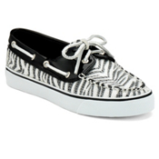 Sperry Bahama 2-Eye Womens Shoes, Black-White, medium