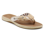 Sperry Seafish Womens Flip Flops, Linen, medium