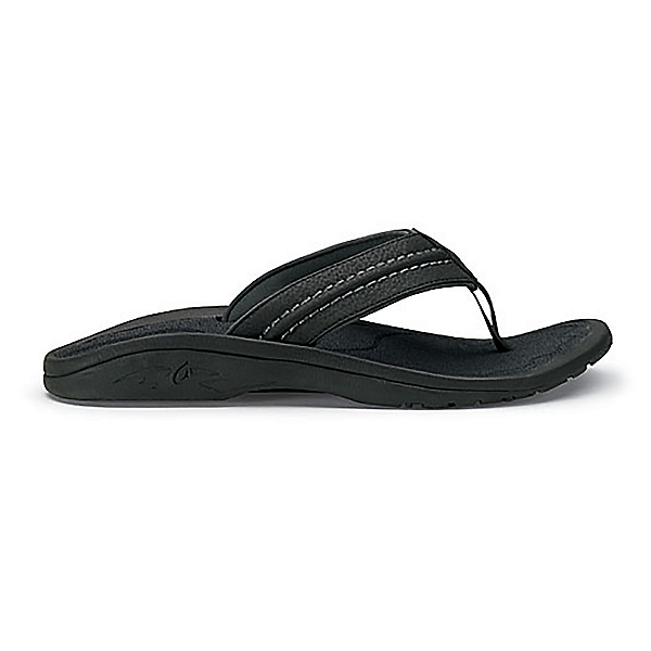 OluKai Hokua Mens Flip Flops, Black-Dark Shadow, 600