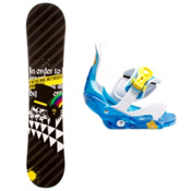 SLQ Black Rainbow Kids Snowboard and Binding Package 2013, , medium
