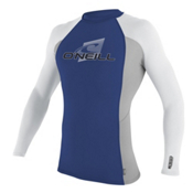 O'Neill Skins Long Sleeve Mens Rash Guard, Pacific Blue-Flint-White, medium