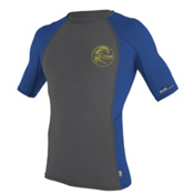 O'Neill Skins Graphic Short Sleeve Mens Rash Guard, Smoke-Fathom Blue-Smoke, medium