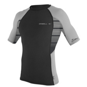 O'Neill Skins Graphic Short Sleeve Mens Rash Guard, Black-Flint-Flint, medium